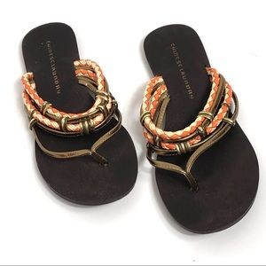 Chinese Laundry Gold and Orange Thong Sandal 8.5